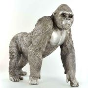 Antique Effect Silver Gorilla Sculpture Statue Decor Wildlife Gift Ornament
